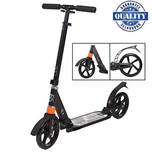 fiugsed Erwachsene/Kinde City Roller Scooter, Leicht Scooter T-Style Stabile Aus Aluminiumlegierung, Klappbar Höhenverstellbar Roller, Big Wheel Cityroller und 200 mm großen Rädern