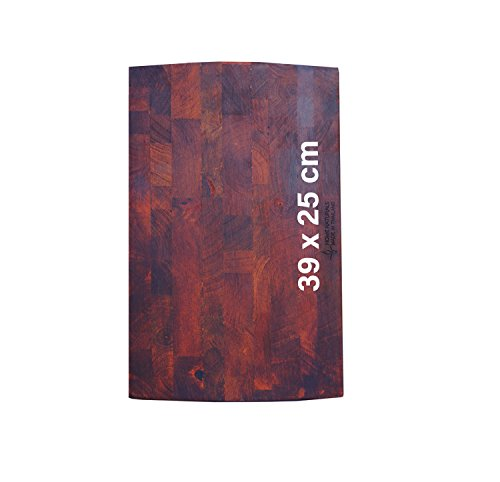 Lüllmann Schneidbrett Stirnholz/Hirnholz Schneidebrett Hackblock Tranchierbrett Holz geölt Küchenbrett Servierbrett (406221 Maß: 39x25cm mit Gummifüßen)
