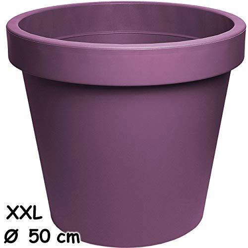 alles-meine.de GmbH Design - XXL - großer Blumentopf / Pflanzkübel / Pflanzschale - Ø 50 cm - 55 Liter - lila - violett - rund - Gross - Kunststoffkübel - Übertopf Pflanzgefäß - ..