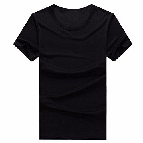 QIYUN.Z Männer Normallack Schnelltrocknend Outdoor-Sport Kurzarmhemden Sommer-T-Shirts Schwarz
