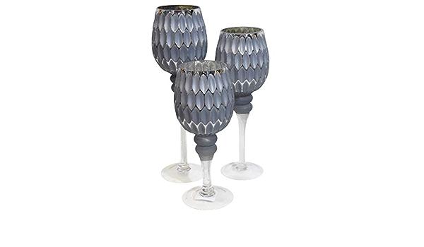 argento Set di 3 calici in vetro portacandele color caramello con calice alto effetto nido dape su base altezza 40//35//30 cm