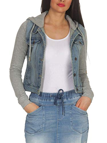 Hailys Damen Jeans Jacke Cora 2 in1 Look mit Sweatkapuze ZG-1705031 Blue S