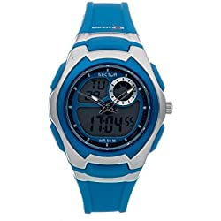 Sector Women's Digital Watch with LCD Dial Digital Display and Blue PU Strap R3251172037