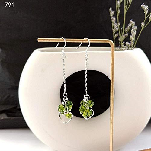 925 Silber Grün Zauberer Von Oz Serie Lange Ohrringe Frau Retro Natürlichen Grünen Peridot Quaste Ohrringe791 (Oz Waren Zauberer Der Von)