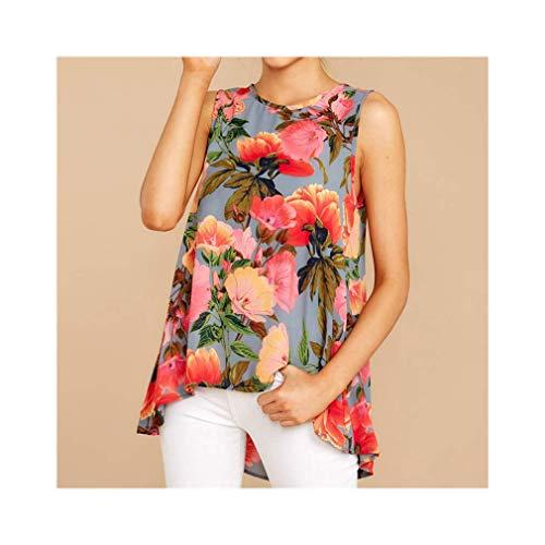 Women Boho Floral Printed Sexy Sleeveless Party Top O Neck Loose Blouse Shirt - Sleeve Boatneck Tunika