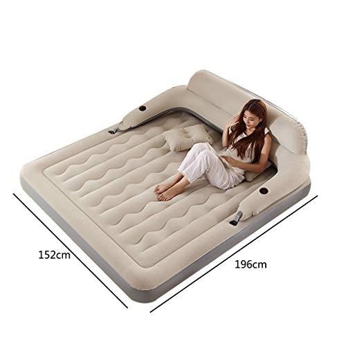 Reis-bett-möbel (GBX Reisen Camping Matratze-Aufblasbares Bett Luftbett mit Rückenlehne Aufblasbares Bett Doppel Haushalt Erhöhen Klappmatratze Im Freien Verdicken Tragbares Bett,Reis grau,Elektrische Haushaltspumpe)