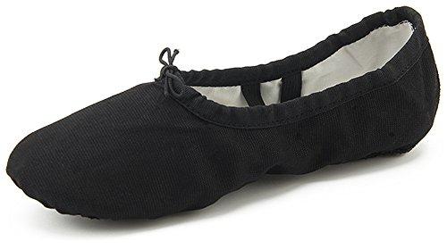 Dreamone Balletschlappchen Ballettschuhe Gymnastik Schlappchen Tanzen Ballerina Spitzen-Schuhe Damen Madchen Kinder , W-schwarz - 43