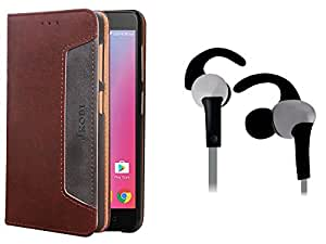 Jkobi Combo Of Branded PU Leather Flip Wallet Case Cover & Sports Series C Shape Earphones Handsfree For Lenovo K6 Note -Leather Brown & Silver Black
