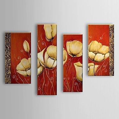 HJ dipinti a mano olio pittura botanica fiore fiori con telaio allungato set di 4 1307-fl0163