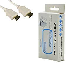 Nintendo Wii 720P / 1080P Convertisseur HDMI - HD Video Upscale Adaptateur + Câble HDMI (Blanc))