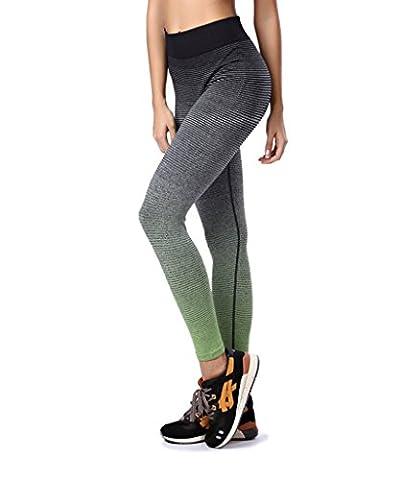 DAS Leben Yogahose/Laufhose/Jogginghose Sport Leggings für Damen Sport und Training (grün(lang), L)