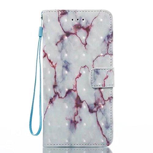 Cover iPhone 7 Plus,iPhone 8 Plus Coque,Valenty Flip Leather Coque [Slots pour cartes] avec fonction Stand Protective 3D Marble Wallet Etui pour iPhone 8 Plus / iPhone 7 Plus 6#