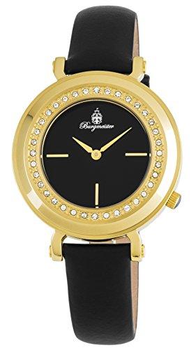 Burgmeister Armbanduhr für Damen mit Analog Anzeige, Quarz-Uhr und Lederarmband - Wasserdichte Damenuhr mit zeitlosem, schickem Design - klassische, elegante Uhr für Frauen - BM809-222 Bellevue