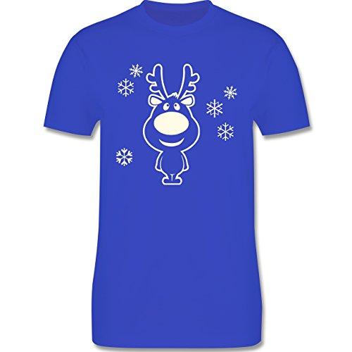Weihnachten & Silvester - Rentier Schneeflocken - Herren Premium T-Shirt Royalblau