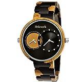 Handgefertigte Holzwerk Germany® Designer Herren-Uhr Öko Natur Holz-Uhr Armband-Uhr Analog Klassisch Quarz-Uhr Dualtime Schwarz Braun