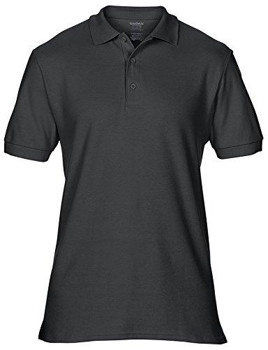 Gildan Premium Baumwolle Double Pique Sport Polo Shirt GD042 Schwarz - Schwarz