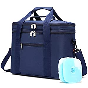 JANSBEN 18L Kühltasche mit 2 Kühlakku Thermotasch Picknicktasche Isoliertasche Lunchtasche Kühlbox Mittagessen für…