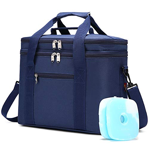 JANSBEN 18L Kühltasche mit 2 Kühlakku Thermotasch Picknicktasche Isoliertasche Lunchtasche Kühlbox Mittagessen für Lebensmitteltransport Outdoor Reisen Camping (Blau)