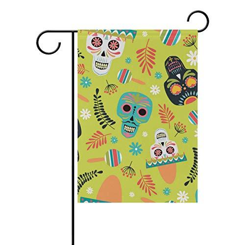 Polyester-Gartenflagge Mexikanischer Sugar Skull Banner 30,5 x 45,7 cm für den Außenbereich Zuhause Garten Blumentopf Deko Party Supplies Hausflagge (Mexikanische Blumentöpfe)