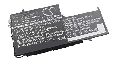vhbw Li-Polymer Akku 5600mAh (11.55V) schwarz für Laptop Notebook wie HP 831532-421, HSTNN-LB7C, PG03XL