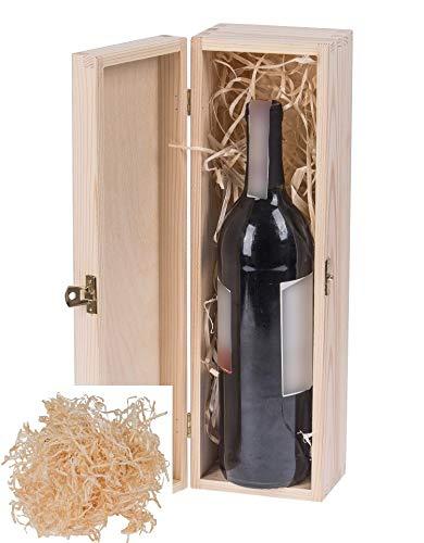 Amazinggirl geschenkbox weinkiste aus Holz mit Deckel - Holzkiste Hochzeit Geschenkverpackung Allzweckkiste Aufbewahrungsbox Wein KISTE für 1 Flasche + Holzwolle