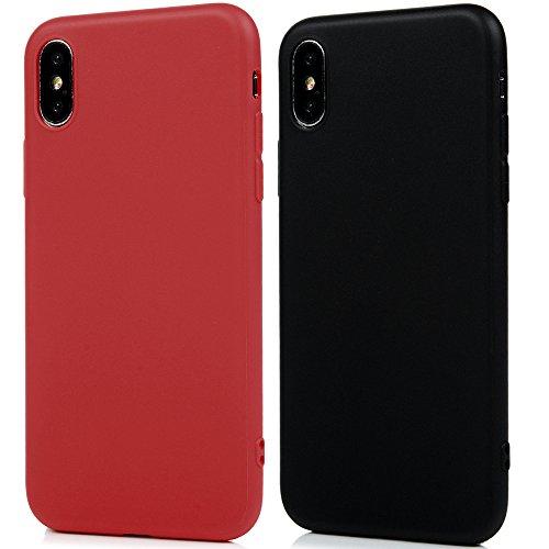 3* iPhone X Cover Antiurto Silicone TPU Gel Gomma - YOKIRIN Opacco Morbido Case Ultra Sottile Flessibile Per iPhone X - Rosso + Blu + Nero Rosso + Nero