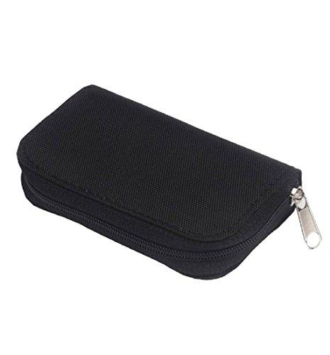 Geldbörsen, Rcool Karte Speicher Wallet Case Tasche SD Micro Mini 22 Slots Kamera (Schwarz) (Oakley Iphone 5 Case)