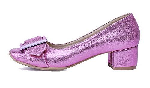 Voguezone009 Pure Femme Faux Suede Talon Moyen Pull Astuce Quedrata Closed Toe Purple Ballerines