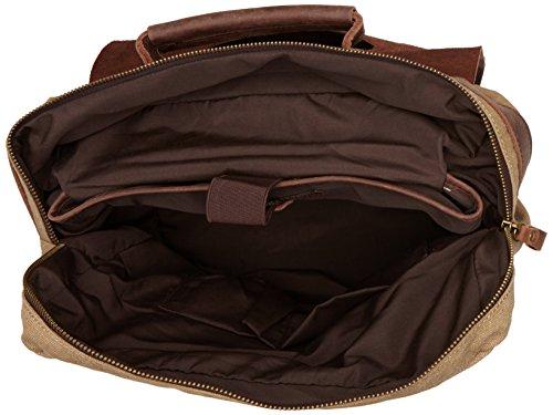 S-ZONE Unisex Vintage Canvas Genuine Leather Travel School Bags 15.6 Laptop Backpack Rucksack Daypack (Dark Gray)