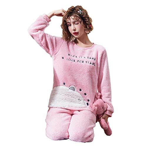 JEELINBORE Women's Pajamas Set Cozy Warm PJ's Flannel Loungewear Long Sleeve Top & Bottoms Nightwear Comfy Sleepwear (#1 Bear Pink, CN 2XL) -