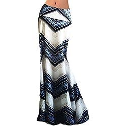 Faldas Mujer Verano Estampados Flores Talle Alto Slim Faldas Largas Elegantes Vintage Boho Etnicas Estilo Playa Falda Maxi