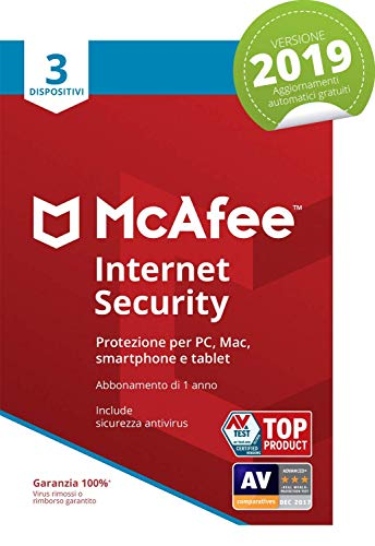 McAfee Internet Security 2019 | 3 Dispositivi | Abbonamento di 1 anno | PC/Mac/Smartphone/Tablet | Codice di attivazione via mail
