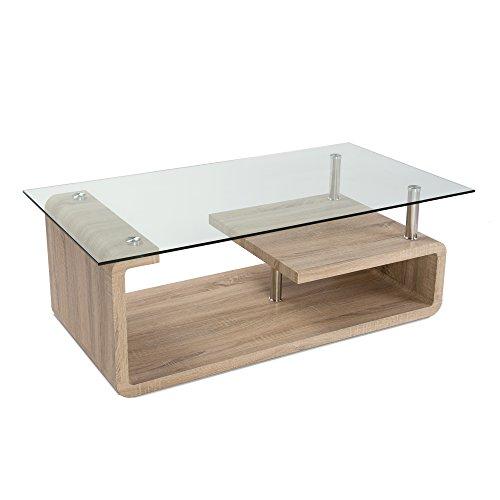 HomeSouth - Mesa de Centro, Cristal Templado Transparente, Patas ...