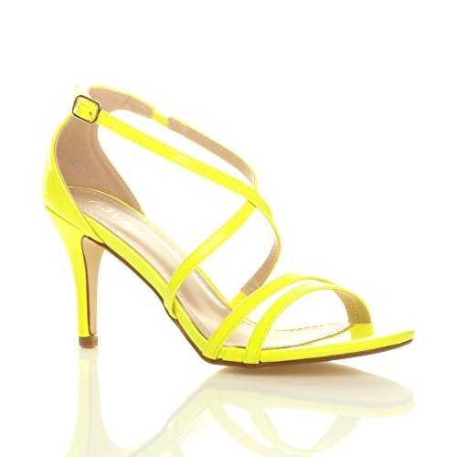 Donna tacco alto medio cinghietti incrociato matrimonio sera sandali taglia Giallo neon