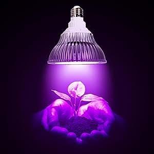 OxyLED® E27 12W Grow Light Lampada Faretto LED per Piante da Idroponica Giardino Serra - Grow Light Perfetto per Crescita Coltivazione Piante Interno, 12 LED (3 Blu & 9 Rosso)