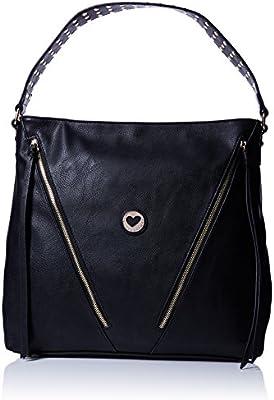 LOLA CASADEMUNT Bolso negro cremalleras asa brillantes - Bolso de hombro para mujer, color unico, talla Única