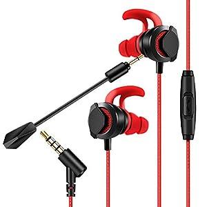 Gaming Headset für PS4, PC, Xbox One, AGPTEK Gaming Kopfhörer mit einstellbar Mikrofon 3.5mm und 3 Paar Ohrstöpsel, kompatible für Samsung Huawei Xiaomi Handy, Laptop, Mac, IPad, Tablet, Rot