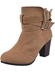 Botas,Manadlian Mujeres Botas De Cinturón Damas Botas De Faux Botines Tacones altos Martin Zapatos