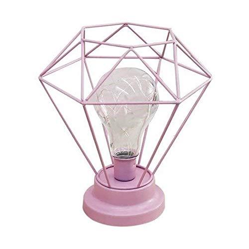 Diamant Lampe De Table de Bureau,KINGCOO Métal Géométrique Cuivre Ampoule Décoration Lumière Lampe De Chevet Veilleuse pour Chambre Salon Café Enfants (Rose)