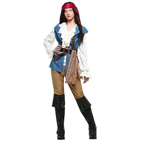 Pirates of The Caribbean Cosplay Halloween Uniformen, Lila, Polyester, blau, UK 16
