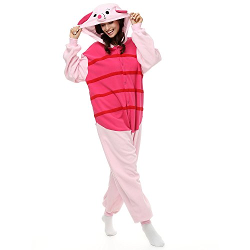 Kostüm Halloween Ferkel - Erwachsene Ferkel Einteiler Polar Fleece Schlafanzüge Cartoon Tier Nachtwäsche Halloween Cosplay Kostüm Unisex, Rot, S (Height 4'10-5'2)