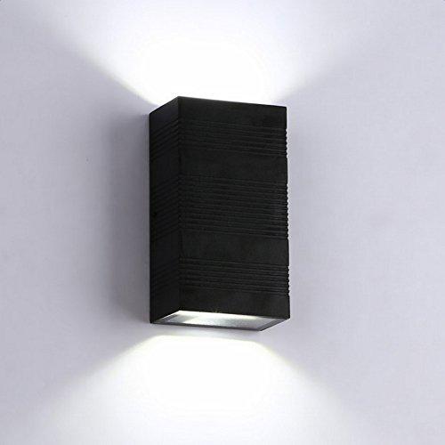 Louvra 6w LED Wandleuchte Up und Down Design Wandlampe Aluminium Waaserdichte IP65 als Außenwandleuchte oder Innenwandleuchte, Kaltweiß