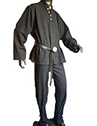 Mittelalter Piratenhemd mit Stehkragen, schwarz, Größen M - XXXL