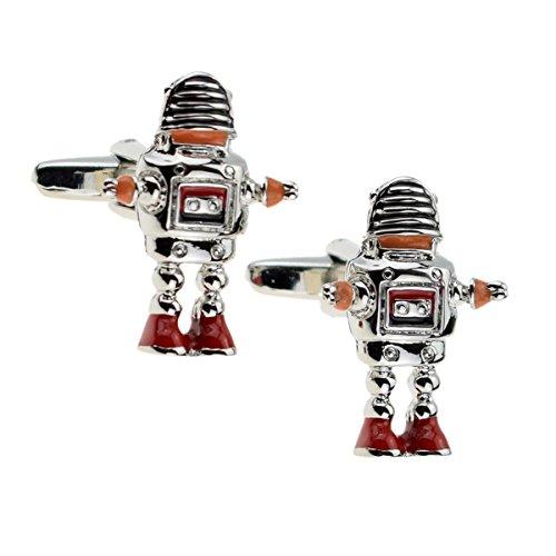 X2AJ024-Manschettenknöpfe, Retro-Roboter, Orange