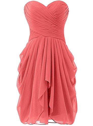 Azbro Women's Summer Wrap Ruffled Asymmetric Chiffon Dress Watermelon Red