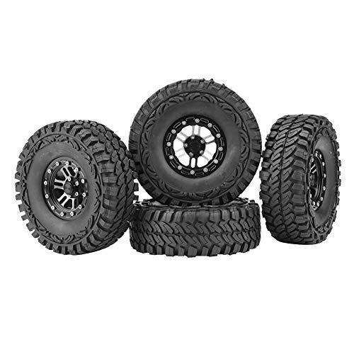 Dilwe 1/10 Reifen, 4 Stück Gummireifen Reifen Metall Naben für 1:10 Fernbedienung Crawler Auto Zubehör Teil (Reifen 1 10 Rc-car)