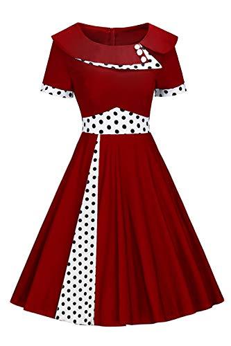 MisShow Robe Femme Vintage Imprimée à Pois Noir Robe Femme Guinguette Mi Longue Robe de Bal Courte Ado Fille Bordeaux M
