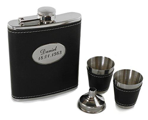 Flachmann 4-tlg.Set 200 ml Lederummantelung mit Wunschgravur, Wunschtext, Grafik oder Logo