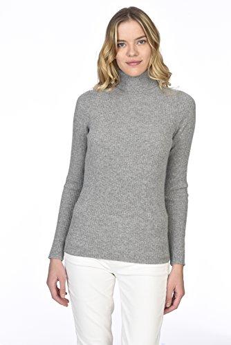State cashmere pullover a costine con collo a costine e maniche lunghe in cashmere 100% puro