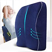 Lumbar Pillow Back Support Seat Cushion for Coccyx 2 in 1 Memory Foam Ergonomic Design with Velvert Washable C